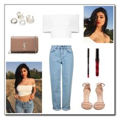 """""""Kylie"""" by milenn-h ❤ liked on Polyvore featuring Topshop, Rosetta Getty, Stuart Weitzman, Yves Saint Laurent, modern and vintage"""