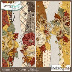 Spice of Autumn Borders :: Gotta Pixel Digital Scrapbook Store by Lindsay Jane $2.00