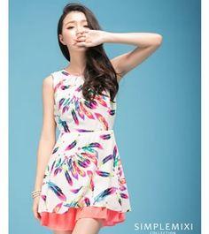 Women Fashion Feather Hit Color Chiffon Dress