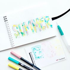 Learn how to create summer popsicle lettering with Adrienne from Lettering Tutorial, Hand Lettering, Water Brush Pen, Tombow Usa, Spiral Art, Mechanical Pencils, Summer Crafts, Popsicles, Bullet Journal