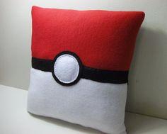 Pokemon Pokeball Fleece Pillow by TheGeekyGiraffe on Etsy