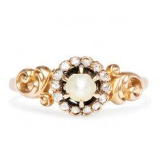vintage art nouveau pearl gold cocktail ring / trumpet & horn