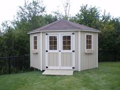 Remove existing shed & build a corner shed in the corner where there's too much shade for grass to grow. Use for mower & lawn care item storage Wood Shed Plans, Shed Building Plans, Diy Shed Plans, Building Ideas, Corner Sheds, Cheap Sheds, Build Your Own Shed, Large Sheds, Xeriscaping