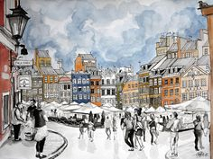 """Warszawa, from """"A New City, a New Style: a Diverse Mix of Travel Sketches"""" by Sofia Pereira"""