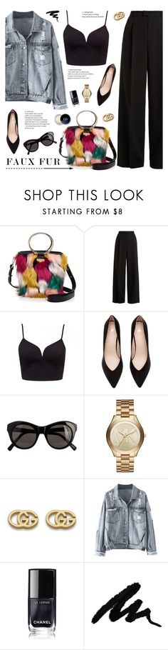 """""""Wow Factor: Faux Fur"""" by tamara-p ❤ liked on Polyvore featuring Milly, RED Valentino, Elizabeth and James, Michael Kors, Gucci, Barneys New York and fauxfur"""