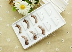 kyouko false eyelashes / Japanese coffee brown transparent thick end of eye stalk slim / lower lashes combination packages - Taobao