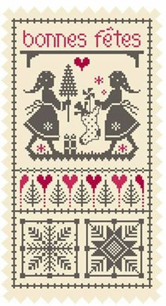 cf42 Cross Stitch Samplers, Counted Cross Stitch Patterns, Cross Stitch Charts, Cross Stitching, Christmas Minis, Christmas Cross, Embroidery Stitches, Hand Embroidery, Theme Noel