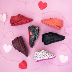 Valentines Day Collection from Freshly Picked, Roses are Red and Sweetheart | 100% Genuine Leather, Holiday Baby Shoes, Fire Engine Red, Neon Pink, Bright Coral, Ebony Black, Patterned Heart and Floral Moccasins,  Flower Style, Kid Fashion