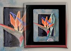 Bird of paradise Flower sculpted in stoneware. Great for hanging on wall or sitting on easel.