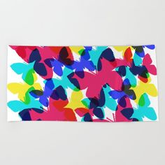 Butterflies Beach Towel by beebeedeigner Beach Towel, Summer Beach, Summertime, Butterflies, Seasons, Contemporary, Artist, Design, Seasons Of The Year