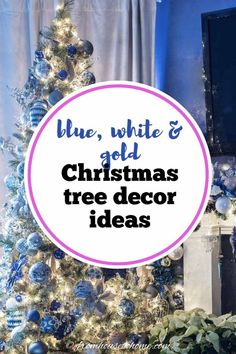 Blue and white Christmas decorations are my favorite! I love the idea of using ginger jars as part of the fireplace mantle decor. Blue Christmas Decor, Gold Christmas Decorations, Beautiful Christmas Trees, Christmas Tree Themes, Xmas, White Christmas, Christmas Fireplace Mantels, Fireplace Mantle, Haunted House Decorations