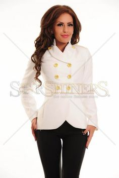 Palton LaDonna Finest Line White Line, Ruffle Blouse, Long Sleeve, Sleeves, Clothes, Tops, Women, Fashion, Outfits