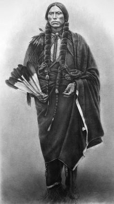 """Drawn in charcoal. Quanah Parker was the last Chief of the Commanches.  He was never captured by the Army, but decided to surrender and lead his tribe into the white man's culture, only when he saw that there was no alternative. Image size: 67 x 35"""""""