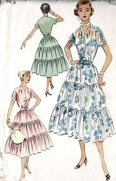 1950s Misses Dress Vintage Sewing Pattern 3 by MissBettysAttic, $12.00