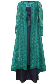 Teal jaquard front open jacket kurta navy slip and pants available only at Pernia's Pop Up Shop.