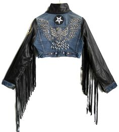 One of a kind hand studded battle jackets. Best Leather Jackets, Denim Jacket Patches, Battle Jacket, Jacket Pins, Biker Chic, Vintage Patches, Easy Rider, Stage Outfits, Leather Fringe