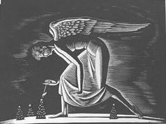 "Paramour Fine Arts - List of Works for Rockwell Kent ""Christmas Angel"" Wood Engraving, 1926 4 1/4 in. x 6 1/4 in. (108 mm x 159 mm) Edition of 75  Catalogue Reference: Burne-Jones 12 Unframed  Availability: Sold Price:"