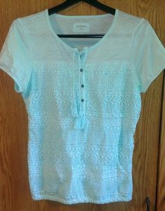 280898fd91d RUFF HEWN Size Small Short Sleeve Mint Green Crocheted Lace Knit Peasant Top