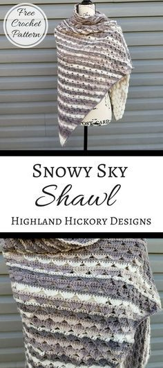 Crochet the Snowy Sky Shawl for a light weight triangle shawl. This pattern is free and has an easy 2 row repeat! Several shawls patterns available on site.