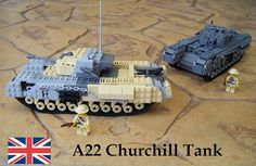 Hope you like the latest addition to my Desert Camo tank group :) This is my modification of Mechanized Brick's Dark Bley Kit (right) Lego Military, Military Vehicles, Lego Ww2, Digital Designer, Desert Camo, Lego Design, Cool Lego, Churchill, Legos