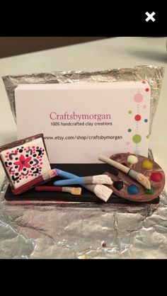 Painter business card holder, custom design, polymer clay