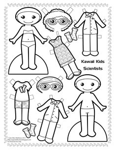 Paper Doll School: Kawaii Wednesdays - Science! Black and white scientist paper doll to color.