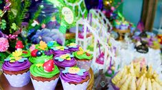 Colorful cupcakes at a Tinkerbell birthday party! See more party ideas at CatchMyParty.com!