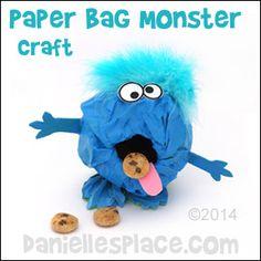 Paper Bag Monster Craft for Kids from www.daniellesplace.com ©2014