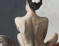 Peinture à l'huile, femme nue assise de dos