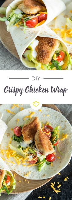 Crispy Chicken WRaps: Knusperhähnchen auf die Faust Mmmmh … crispy on the outside, tender and juicy on the inside – chicken with a crispy breading can do everything. Even if it tries to curl up in tortillas, hide under fresh… Continue Reading → Crispy Chicken Wraps, Comida Boricua, Snacks Sains, Mexican Food Recipes, Ethnic Recipes, Cooking Recipes, Healthy Recipes, Wrap Sandwiches, Clean Eating Snacks