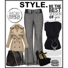 Trench coat, wide-leg grey pants, open-back black blouse, large black tote, high-heel black pumps - Office Fashion by dimij on Polyvore