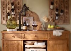A place to serve and store fine wine. #potterybarn
