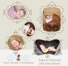 Digital Frames doodle 3 psd templates by KimlaDesigns on Etsy, $8.99