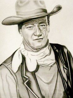 A charcoal pencil portrait of John Wayne in one of his numerous cowboy films. Please let me know what you think of the portrait I would like to hear your comments? John Wayne, Celebrity Drawings, Celebrity Portraits, Cowboy Films, Charcoal Portraits, Beautiful Sketches, Famous Photos, Portraits From Photos, Cowboy Art