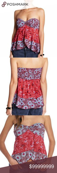 *COMINGSOON*FREE PEOPLE SUMMER SCARF STRAPLESS TOP Strapless mixed printed cami in a pretty plum featuring a flowy design with a flirty front vent.  Stretchy smocked band in back, knotted bandeau detail, front wrap construction, contrast floral print and a hi-lo ruffle hem.  100% Rayon. FREE PEOPLE Tops Camisoles