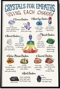 LOVE this infographic! All the crystals you need to heal each chakra, laid out i… LOVE this infographic! All the crystals you need to heal each chakra, laid out in an eye-catching and beautiful. Chakra Crystals, Crystals And Gemstones, Wicca Crystals, Healing Gemstones, Gambit Wallpaper, Intuitive Empath, Empath Traits, Intuitive Healing, Crystal Guide