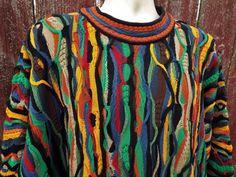 Coogi 3D Bright Multicolor 1XL Mercerized Cotton Knit Crew Sweater rare VTG Mens #COOGI #Crewneck