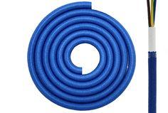 Textilkabel Synthetikgeflecht rund 3 x 0,75mm²  Marinblau RAL5002 Textilleitung