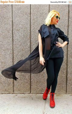 ON SALE 30% OFF Black Cotton Chiffon Tunic Shirt with Strapless Top / Loose Asymmetrical Shirt Tt45