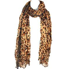 Long Light Crinkled Scarf Wrap Leopard Animal Print See Through Coffee Brown. 4514,W166-1