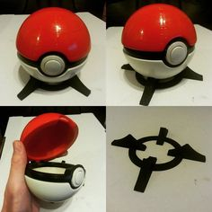 Downloaded the file for this Pokeball from Thingiverse. Printed it on the DaVinci sanded it with my hands painted it with paint and photographed it with a phone. #3d #3dprinted #3dprinting #pokemon #ornaments #prop #diy by markstanton89