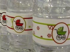 free holiday baby shower water bottle labels