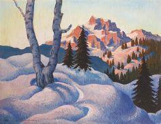 Herbert Gurschner - Winterabend in den Dolomiten ca 1935 Den, Painting, Painting Art, Paintings, Painted Canvas, Drawings