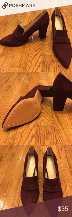 """Beautiful suede Nine West pump - never worn Beautiful suede (100% leather suede) pump in this rich merlot color from Nine West. Trendy pointed toe and 3-1/2"""" block heel. Never worn. Nine West Shoes Heels"""