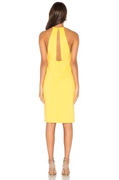 Lavish Alice Wrap Front Plunge Back Detail Mini Dress in Yellow   REVOLVE