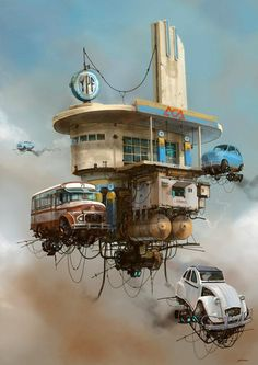 Concept Art Writing Prompt: The Aerial Gas Station and Churro Stand.  Dieselpunk, baby!  Retro futurism back to the future tomorrow tomorrowland space planet age sci-fi pulp flying train airship steampunk