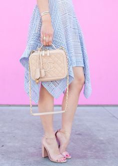 Neutral Chanel Bag & Pale Blue Lace Dress