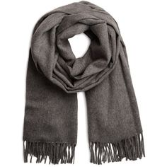 ACNE Scarf Canada Accessories ($125) ❤ liked on Polyvore featuring accessories, scarves, grey melange, wool shawl, fringe scarves, fringe shawl, wool scarves and gray scarves
