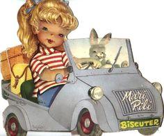 """""""Mari Pili en biscuter"""" (""""Mari Pili in her Scooter""""), illustrated by Juan…"""