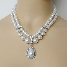 White Pearl Necklace Rhinestone & Pearl Necklace by LuxeJewelria, $24.95